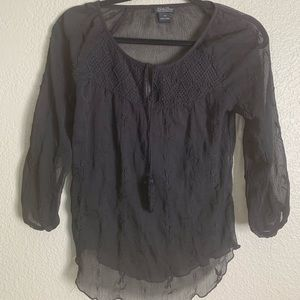 Lucky Brand XS Black Printed 3/4 top